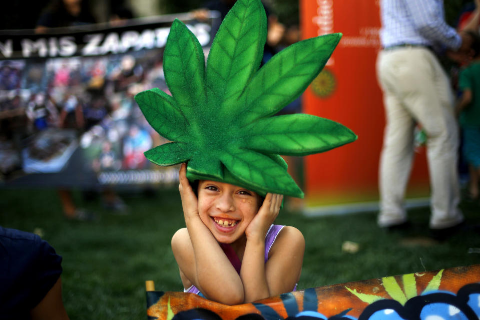 A child wearing a marijuana leaf hat poses during a rally in support of cultivation of cannabis for medicinal purposes in Chile, Santiago March 18, 2015. REUTERS/Ivan Alvarado
