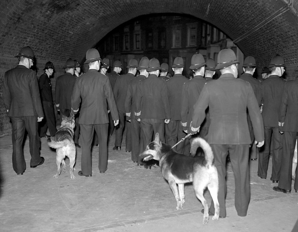 Police officers with dogs at a street in Notting Hill during riots in Notting Hlil, 1958 (Photo: PA)
