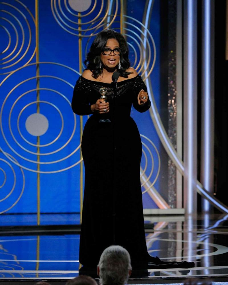 Oprah gave an incredibly inspiring speech at the 2018 Golden Globes as she accepted the Cecille B. DeMille Award. Source: Getty