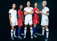 """<p>As the away team, the USWNT amps up its undeniably American identity in a red shirt and shorts with blue socks. The shirt is highlighted by an abstraction of the American flag and, again, those three shining stars. Inner pride on the away shirt reads """"One Nation, One Team."""" </p>"""