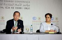 United Nations Secretary-General Ban Ki-moon speaks next to Executive Secretary of the UN Framework Convention on Climate Change Patricia Espinosa at the UN World Climate Change Conference 2016 (COP22) in Marrakech, Morocco, November 15, 2016. REUTERS/Youssef Boudlal