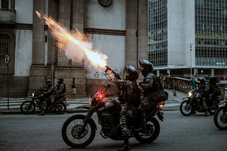 Police in Brazil used tear gas after a peaceful protest by several thousand in central Rio turned violent