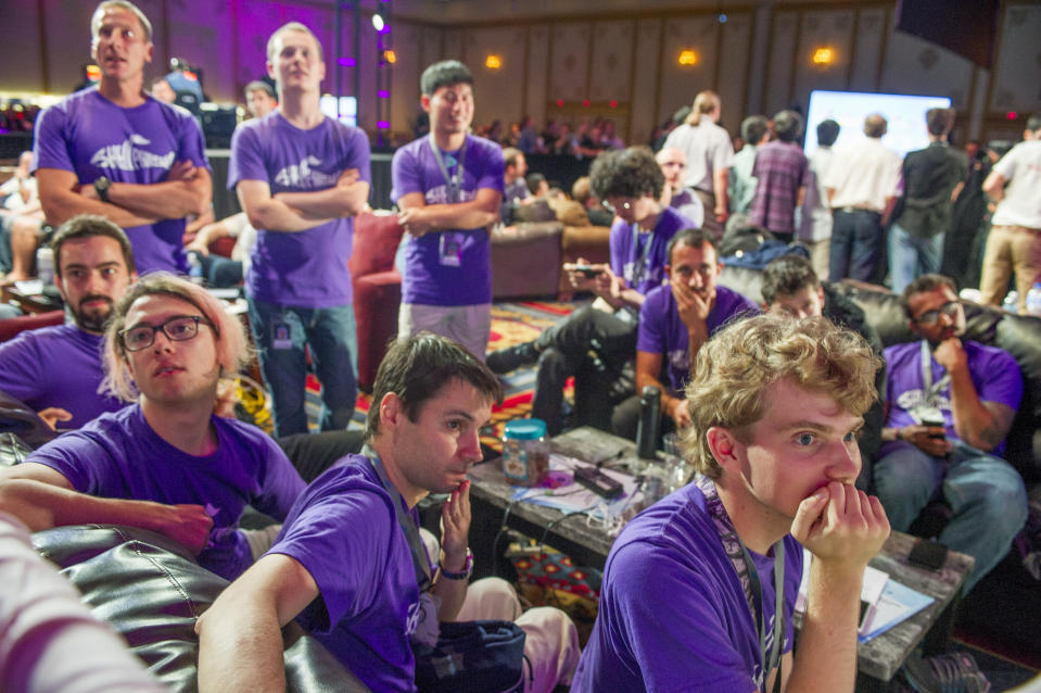 Team members at DEF CON 24, one of the world's largest hacker conventions, in 2016. (Ann Hermes/Christian Science Monitor via Getty Images)