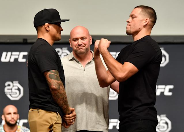 Dustin Poirier and Nate Diaz won't fight at Madison Square Garden after a reported undisclosed injury toPoirier. (Getty)