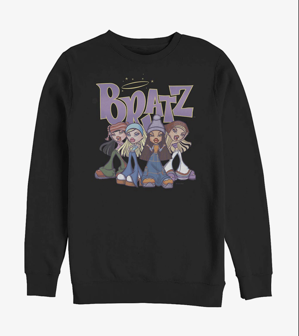 """<h2>Hot Topic Bratz Crew Sweatshirt</h2><br>Clap your hands if you still have the """"passion for fashion."""" <em>Gotta plan your dream, take a chance, and believe, make it real.</em><br><br><strong>Hot Topic</strong> Bratz Crew Sweatshirt, $, available at <a href=""""https://go.skimresources.com/?id=30283X879131&url=https%3A%2F%2Fwww.hottopic.com%2Fproduct%2Fbratz-the-originals-crew-sweatshirt%2F14649110.html"""" rel=""""nofollow noopener"""" target=""""_blank"""" data-ylk=""""slk:Hot Topic"""" class=""""link rapid-noclick-resp"""">Hot Topic</a>"""