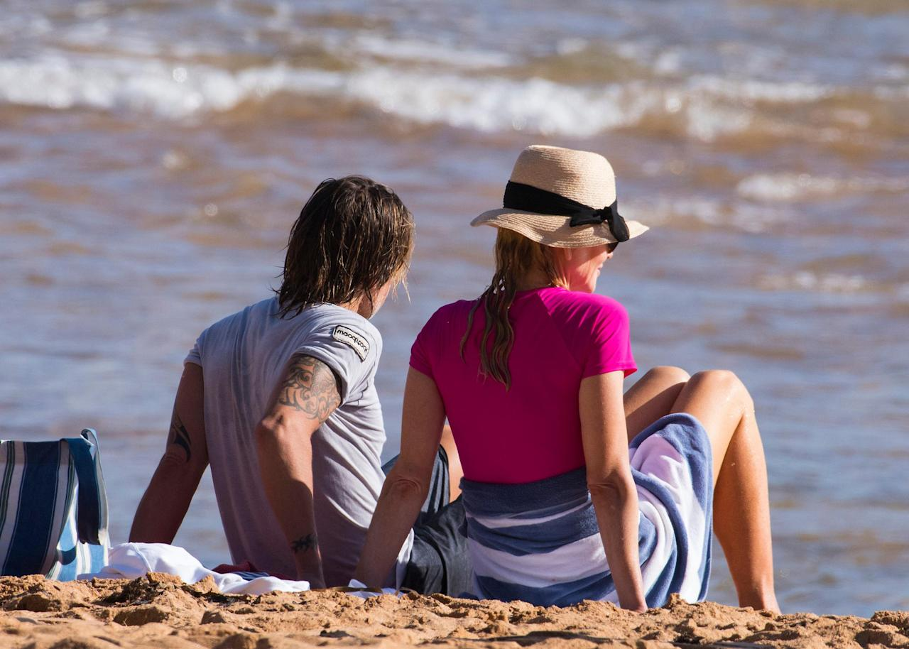 <p>The Hollywood couple were seen eagerly watching their daughter's learn how to surf on Sydney's famous Palm Beach.</p>