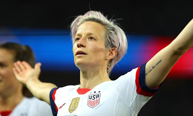 Megan Rapinoe celebrates after scoring her team's first goal during the 2019 FIFA Women's World Cup quarterfinal match between France and USA. (Getty)