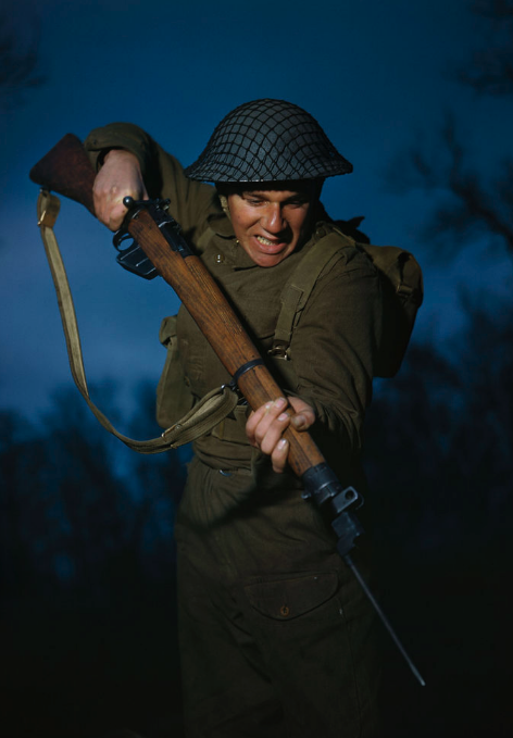 <p>Private Alfred Campin of the 6th Battalion, Durham Light Infantry during battle training, March 1944 (Picture: PA) </p>