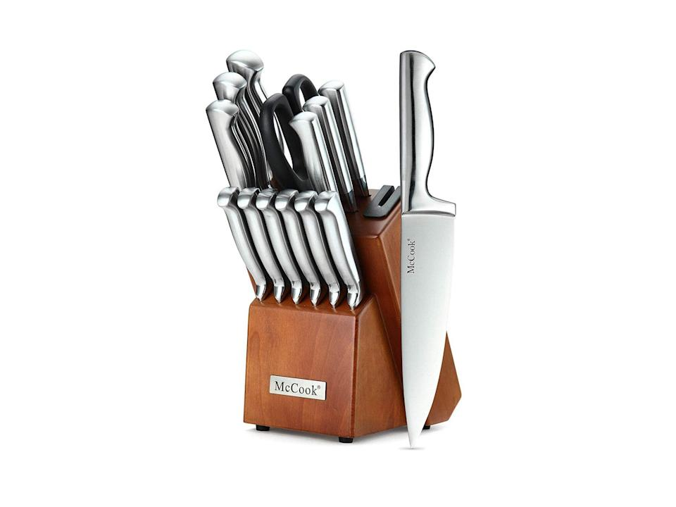 McCook 14 Piece German High Carbon Stainless Steel Hollow Handle Self Sharpening Kitchen Knife Set