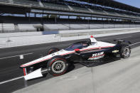 Will Power, of Australia, leaves the pits during the Aeroscreen testing at Indianapolis Motor Speedway, Wednesday, Oct. 2, 2019, in Indianapolis. (AP Photo/Darron Cummings)