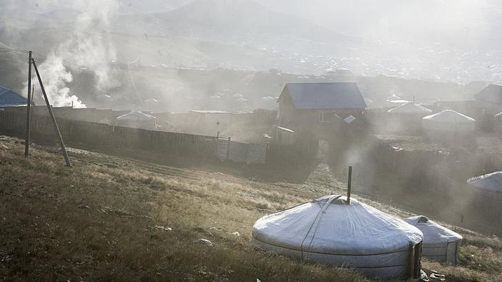 Pollution in a ger district, Ulaanbaatar (2012 picture). A recent ban on burning raw coal has improved air quality