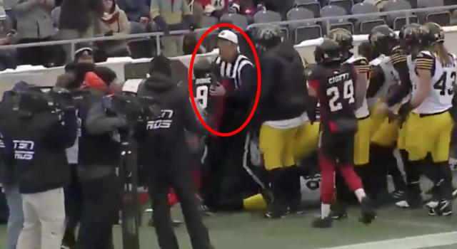 Jonathan Rose of the Ottawa Redblacks took out an official during a brawl in the CFL Eastern Conference final against the Hamilton Tigercats. (TSN)