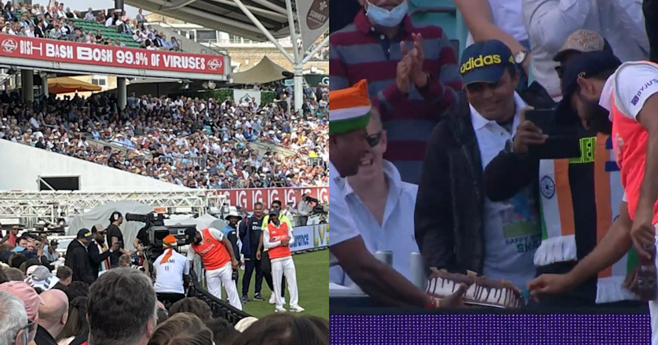 Mohammed Shami Cuts A Cake At The Oval Boundary Ropes