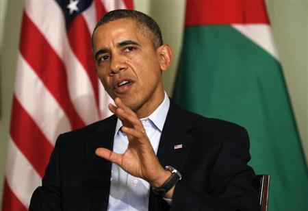 U.S. President Barack Obama speaks during his meeting with Jordan's King Abdullah at Sunnylands in Rancho Mirage