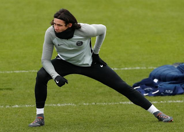 Soccer Football - Champions League - Paris St Germain Training - Ooredoo Training Centre, Saint-Germain-en-Laye, France - February 13, 2018 Paris St Germain's Edinson Cavani during training REUTERS/Gonzalo Fuentes