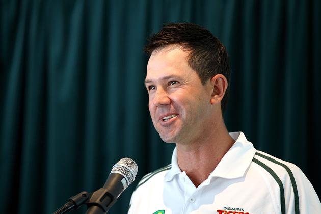 Ricky Ponting speaks after being named Sheffield Shield player of the year during the State Cricket Awards at Blundstone Arena on March 20, 2013 in Hobart, Australia.  (Photo by Robert Prezioso/Getty Images)