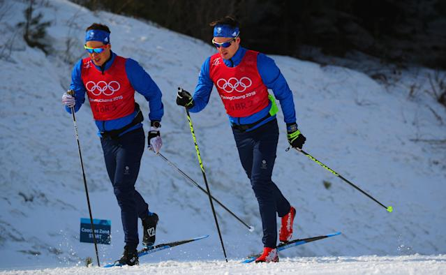 Cross-Country Skiing - Pyeongchang 2018 Winter Olympics - Men's 50km Mass Start Classic Training - Alpensia Cross-Country Skiing Centre - Pyeongchang, South Korea - February 23, 2018 - Athletes from team Britain train. REUTERS/Carlos Barria