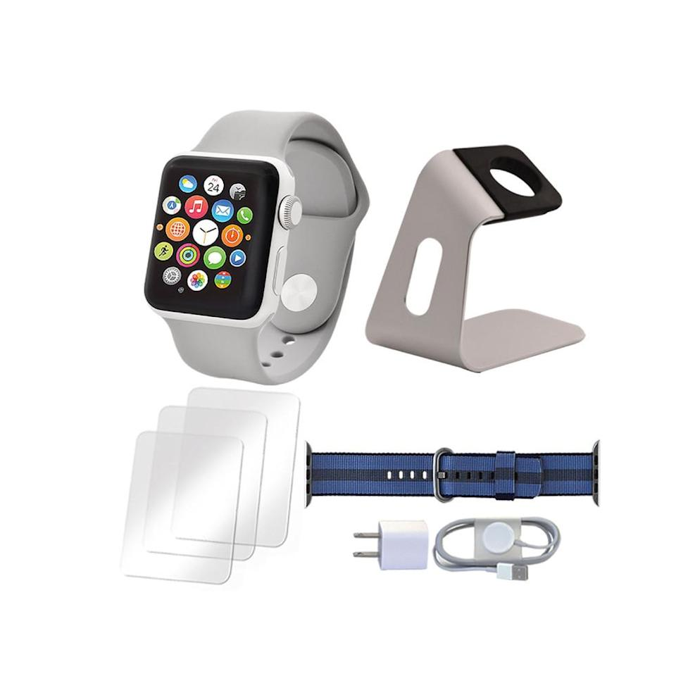 Apple Watch Series 3 38mm with an extra nylon band and accessories. (Photo: QVC)