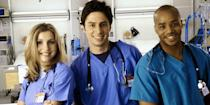 <p> <strong>UK: </strong>Available to purchase on Google Play </p> <p> <strong>US:</strong> Hulu </p> <p> There have been a half-dozen TV shows set in hospitals, but none are as funny or relatable as Scrubs. Zach Braff John plays J.D., the show's narrator (for the first eight seasons at least) and central character. And while Braff's comedic timing make this a great watch, it's his chemistry with the central gang – Sarah Chalke's Elliot, Donald Faison's Turk, John C. McGinley's Perry, and Judy Reyes' Carla – that makes Scrubs so special. </p>