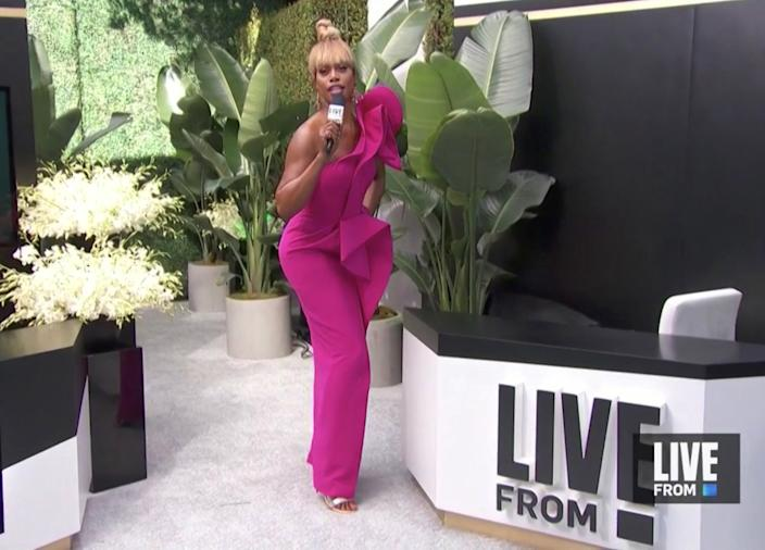 """Laverne Cox hosts E! Entertainment's """"E! Countdown to the Red Carpet,"""" broadcast live from the Universal Lot"""