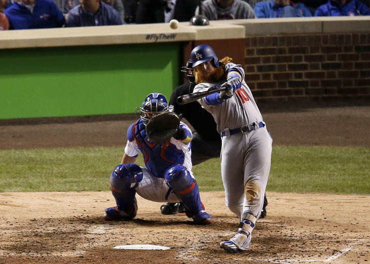 Los Angeles Dodgers' Justin Turner hits a home run during Game 4 of the NLCS. (AP)