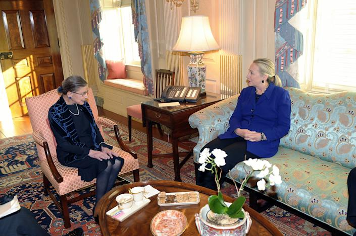 Secretary of State Hillary Rodham Clinton meets with Justice Ruth Bader Ginsburg at the State Department before Ginsburg left for two North African countries where popular uprisings toppled longtime leaders. (Photo: State Department/AP)