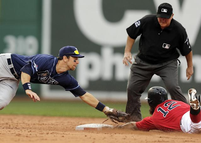 Boston Red Sox's Mike Napoli (12) beats the tag by Tampa Bay Rays second baseman Ben Zobrist, left, for a double in the fifth inning in Game 1 of baseball's American League division series, Friday, Oct. 4, 2013, in Boston. Second base umpire Dana Demuth, rear, prepares to make the call. (AP Photo/Charles Krupa)
