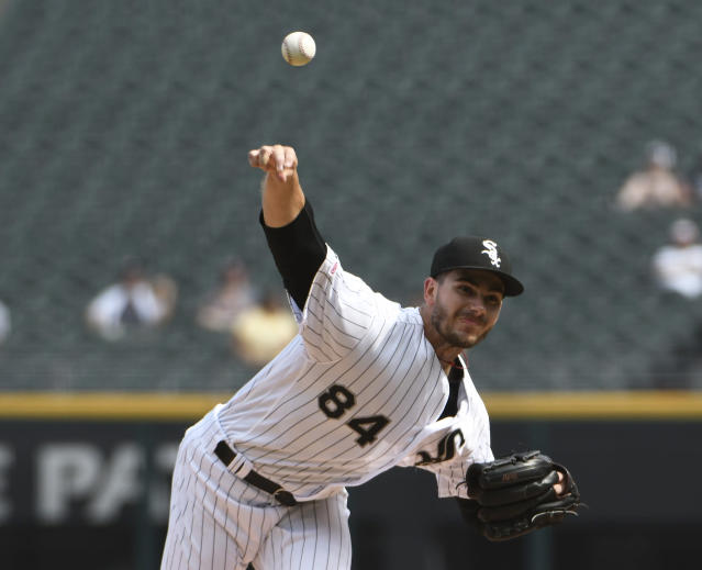 Chicago White Sox starting pitcher Dylan Cease (84) throws against the Houston Astros during the first inning of game one of a baseball doubleheader, Tuesday, Aug. 13, 2019, in Chicago. (AP Photo/David Banks)