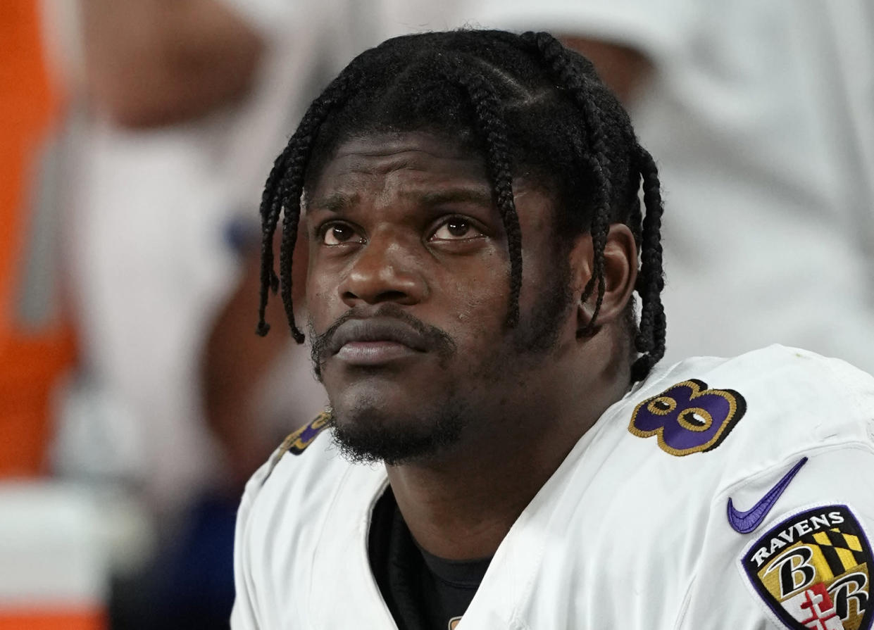 Baltimore Ravens quarterback Lamar Jackson (8) is seen on the bench during the second half of an NFL football game against the Las Vegas Raiders, Monday, Sept. 13, 2021, in Las Vegas. (Jeff Bottari/AP Images for NFL)