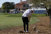 Matthew Fitzpatrick, of England, hits off the pine straw on the 18th hole during the second round of the The Players Championship golf tournament Friday, March 12, 2021, in Ponte Vedra Beach, Fla. (AP Photo/Gerald Herbert)