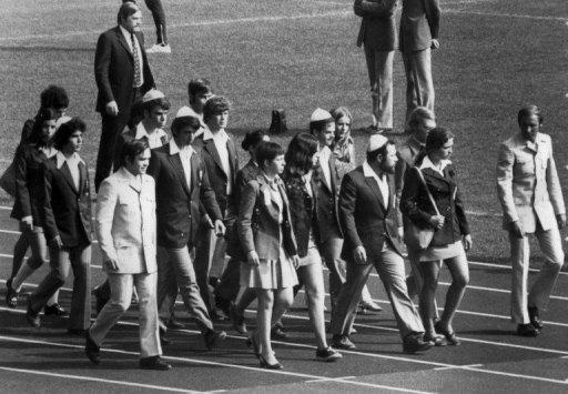 Israel's 1972 Olympic team marches in as they pay tribute to their 11 teammates on September 6, 1972
