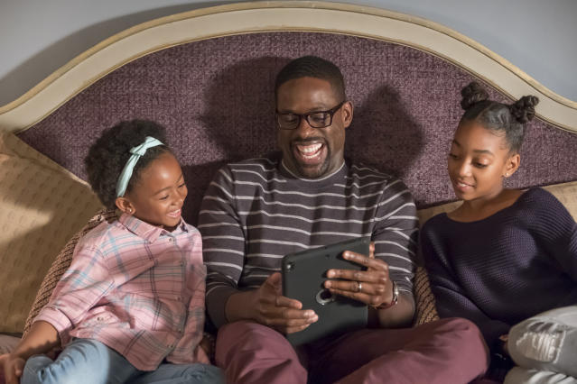 <p>From left: Faithe Herman as Annie, Sterling K. Brown as Randall, and Eris Baker as Tess in NBC's <i>This Is Us</i>.<br> (Photo: Ron Batzdorff/NBC) </p>