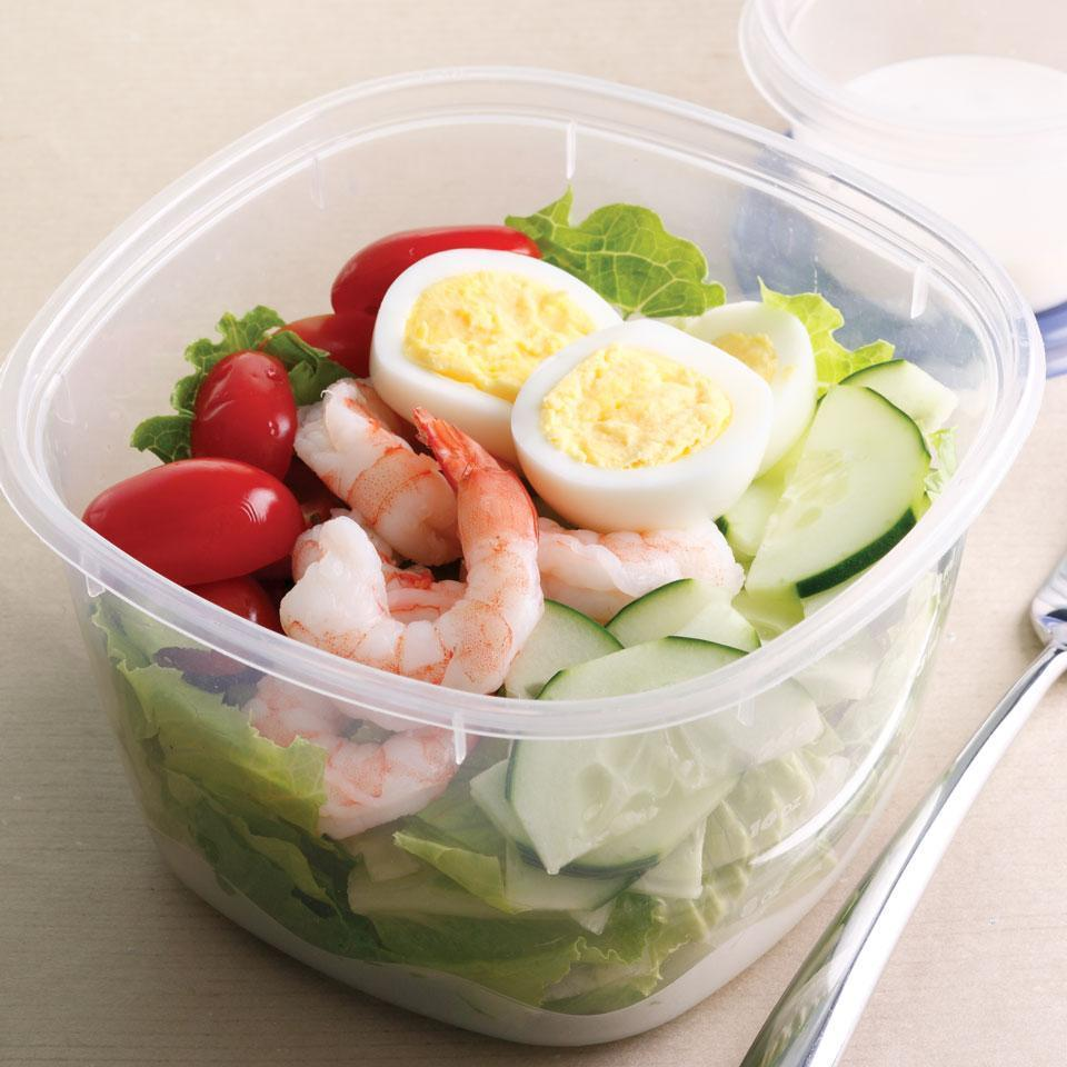 <p>Cooked peeled shrimp is perfect for quick and healthy meals--here we use it in place of chicken in our simplified Cobb Salad.</p>