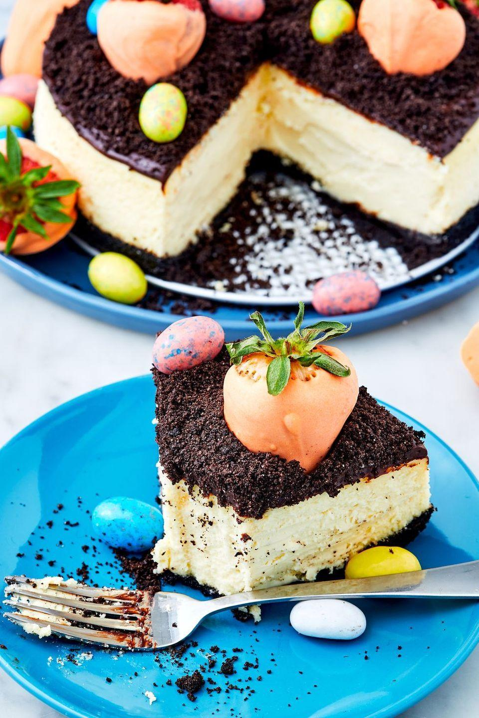 """<p>This <a href=""""https://www.delish.com/uk/cooking/recipes/a31095900/chocolate-orange-cheesecake/"""" rel=""""nofollow noopener"""" target=""""_blank"""" data-ylk=""""slk:cheesecake"""" class=""""link rapid-noclick-resp"""">cheesecake</a> is sure to elicit some oohs and ahhs from your <a href=""""https://www.delish.com/uk/cooking/recipes/g30764830/easter-recipes/"""" rel=""""nofollow noopener"""" target=""""_blank"""" data-ylk=""""slk:Easter dinner"""" class=""""link rapid-noclick-resp"""">Easter dinner</a> guests. Tip: Don't leave out the coconut oil! It makes the white chocolate much easier to work with, and will prevent the chocolate from breaking when food colouring is added.</p><p>Get the <a href=""""https://www.delish.com/uk/cooking/recipes/a32031739/carrot-patch-cheesecake-recipe/"""" rel=""""nofollow noopener"""" target=""""_blank"""" data-ylk=""""slk:Carrot Patch Cheesecake"""" class=""""link rapid-noclick-resp"""">Carrot Patch Cheesecake</a> recipe. </p>"""