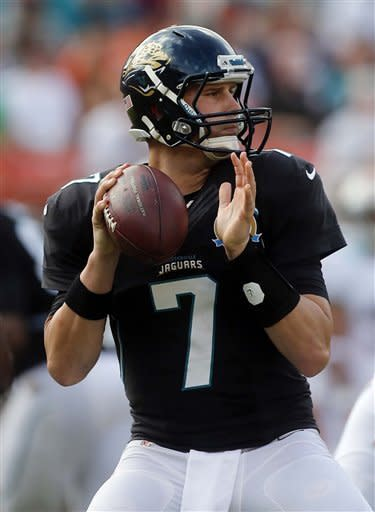 Jacksonville Jaguars quarterback Chad Henne (7) looks to pass during the first half of an NFL football game against the Miami Dolphins, Sunday, Dec. 16, 2012, in Miami. (AP Photo/John Bazemore)
