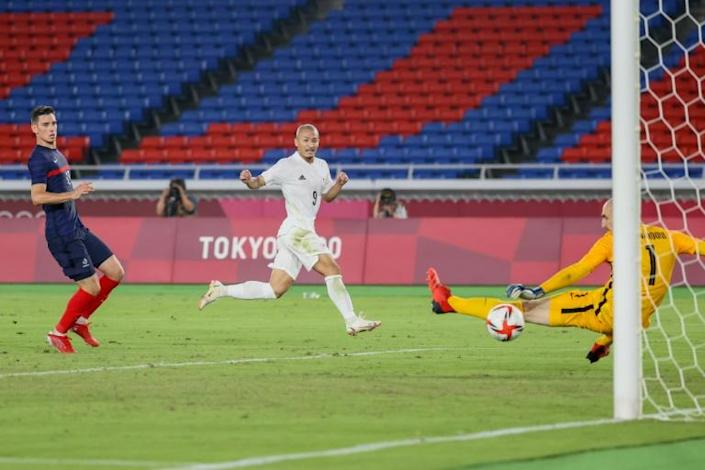 Daizen Maeda (C) scored Japan's fourth goal as France were humbled in the Olympic football