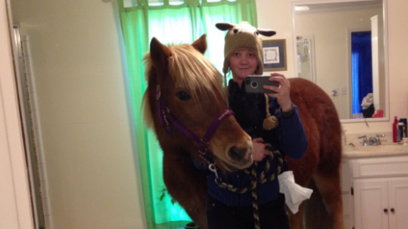 A Girl Snuck Horse Into Her Parents Bathroom For Some Selfies Of Course