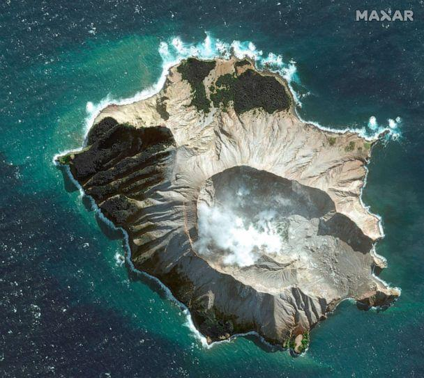 PHOTO: This May 12, 2019 satellite image provided by Maxar Technologies shows White Island in New Zealand before a volcano erupted on, Dec. 9, 2019. (Satellite image 2019 Maxar Technologies via AP, FILE)
