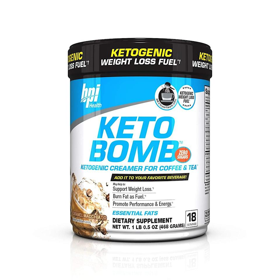 """<p>This <a rel=""""nofollow noopener"""" href=""""https://www.popsugar.com/buy/BPI-Sports-Keto-Bomb-Ketogenic-Creamer-349653?p_name=%20BPI%20Sports%20Keto%20Bomb%20Ketogenic%20Creamer&retailer=amazon.com&price=19&evar1=fit%3Auk&evar9=45059489&evar98=https%3A%2F%2Fwww.popsugar.com%2Ffitness%2Fphoto-gallery%2F45059489%2Fimage%2F45059643%2FBPI-Sports-Keto-Bomb-Ketogenic-Creamer&prop13=desktop&pdata=1"""" target=""""_blank"""" data-ylk=""""slk:BPI Sports Keto Bomb Ketogenic Creamer"""" class=""""link rapid-noclick-resp""""> BPI Sports Keto Bomb Ketogenic Creamer</a> ($19, originally $33) comes in four yummy flavors. We never thought we'd get to have caramel macchiato creamer in our coffee and still stay on the Keto diet!</p>"""