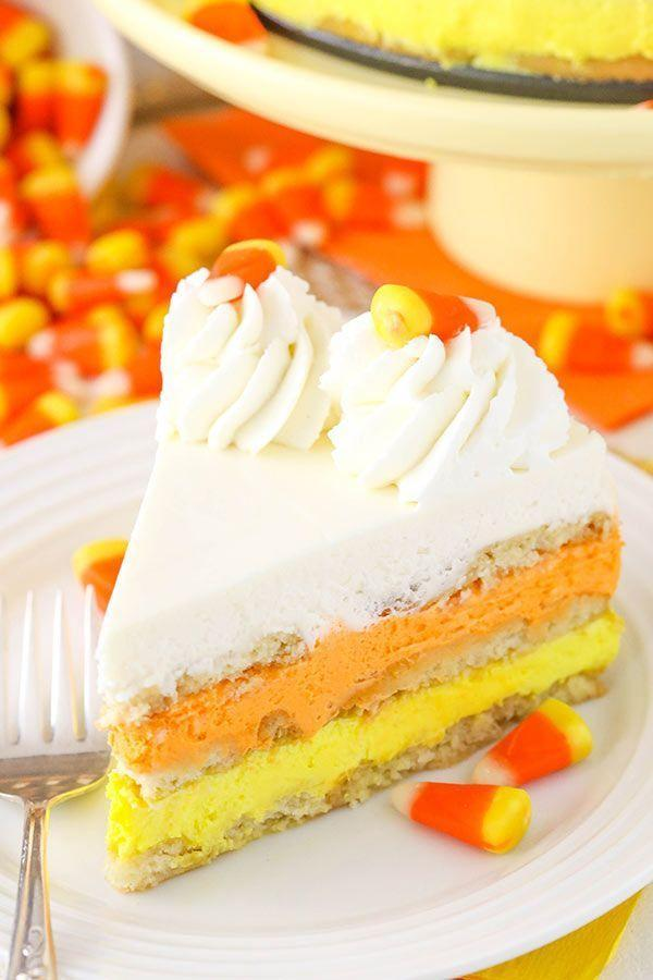 """<p>We've got good news: You don't actually have to """"bake"""" anything to bring this colorful cake to life. That's the magic of any icebox cake recipe!</p><p><strong>Get the recipe at <a href=""""https://www.lifeloveandsugar.com/candy-corn-icebox-cake/"""" rel=""""nofollow noopener"""" target=""""_blank"""" data-ylk=""""slk:Life, Love and Sugar"""" class=""""link rapid-noclick-resp"""">Life, Love and Sugar</a>.</strong></p><p><strong><strong><a class=""""link rapid-noclick-resp"""" href=""""https://go.redirectingat.com?id=74968X1596630&url=https%3A%2F%2Fwww.walmart.com%2Fip%2FThe-Pioneer-Woman-5-Piece-Prep-Set-Measuring-Bowls-Cup%2F55467843&sref=https%3A%2F%2Fwww.thepioneerwoman.com%2Ffood-cooking%2Fmeals-menus%2Fg32110899%2Fbest-halloween-desserts%2F"""" rel=""""nofollow noopener"""" target=""""_blank"""" data-ylk=""""slk:SHOP MEASURING CUPS"""">SHOP MEASURING CUPS</a></strong><br></strong></p>"""