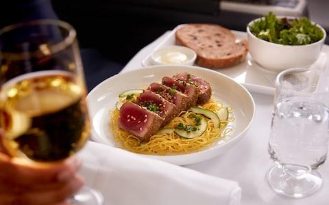 A meal served on board a Qantas Airways business class flight - Credit: Qantas Airways