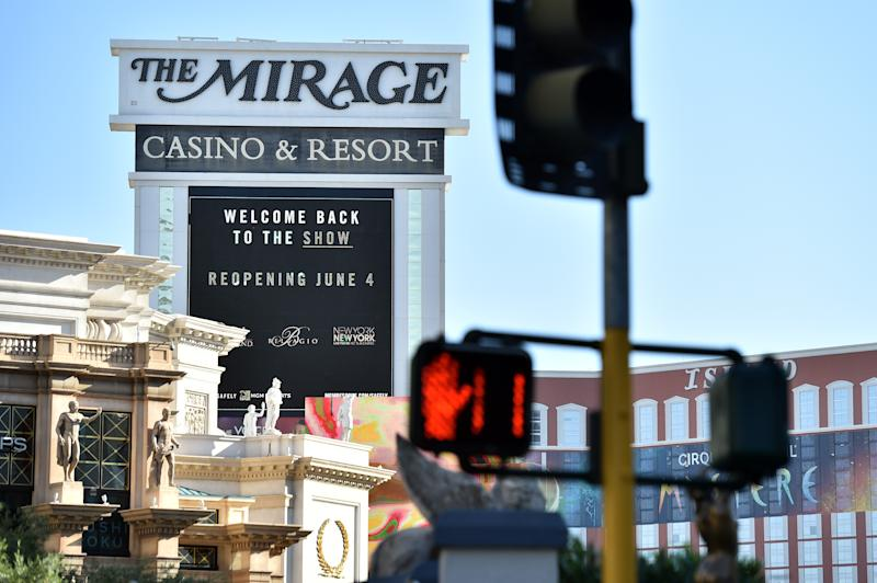 LAS VEGAS, NEVADA - JUNE 04: The marquee at The Mirage Casino & Resort displays the opening of the Las Vegas Strip as casinos are beginning to open for the first time since being closed on March 17 because of the coronavirus (COVID-19) pandemic, on June 4, 2020 in Las Vegas, Nevada. Hotel-casinos throughout the state are opening today as part of a phased reopening of the economy with social distancing guidelines and other restrictions in place. (Photo by David Becker/Getty Images)