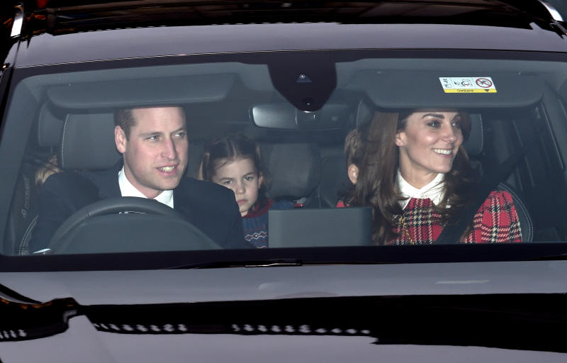 The Duke and Duchess of Cambridge depart Buckingham Palace with their three children. (Photo by Karwai Tang/WireImage)