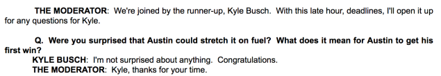 All Kyle Busch had to say after the race in the media center.