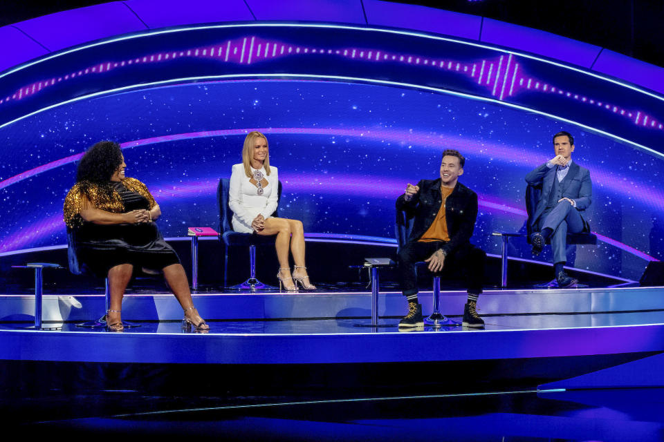 I Can See Your Voice - Celebrity Investigators (l-r) Alison Hammond, Amanda Holden, Danny Jones, Jimmy Carr (Thames/Tom Dymond)