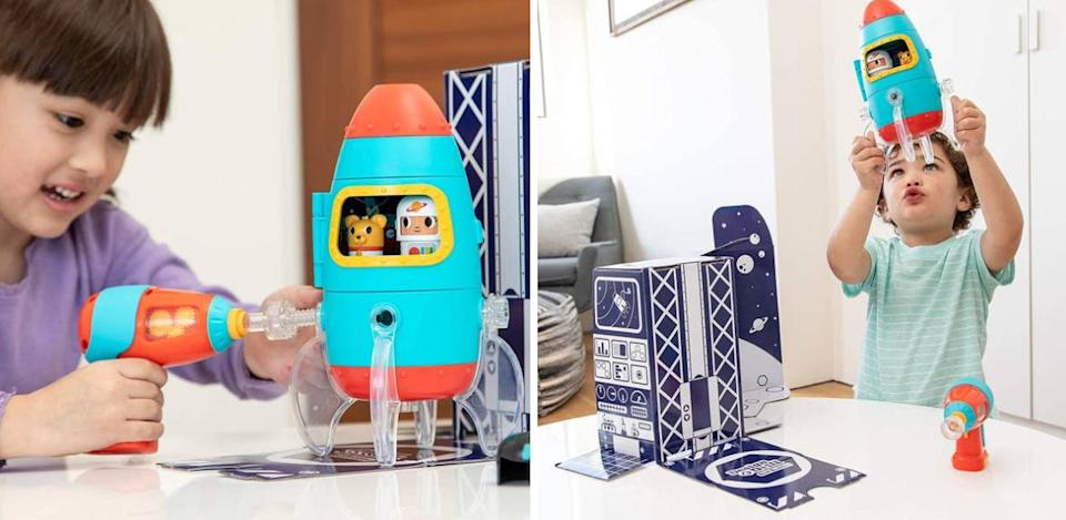 """There's no better way to get kids into STEM than by building a spaceship for an astronaut and his puppy pal — and using the eco-friendly packaging as a play set.<br /><br /><strong>Promising review:</strong>""""My 3-year-old son had an old toy drill that recently stopped working and he asked me for a new one. This little set caught my eye, so I bought it and he loves it!<strong>I love that they put a little window on the side of the drill to show the gears inside spinning. Nice touch to show curious minds how these things work internally.</strong>Fits little hands perfectly and he's been assembling and disassembling this rocket at least a couple of times a day since we got it! The little astronaut characters are cute and can lock into spots inside the rocket (like LEGO pieces). Another nice touch is that the box that the set comes in doubles as a space backdrop to play with or display on a bookshelf or table."""" —<a href=""""https://amzn.to/2QNWRaC"""" target=""""_blank"""" rel=""""noopener noreferrer"""">CK</a><br /><strong><br />Get it from Amazon for<a href=""""https://amzn.to/3awzwBq"""" target=""""_blank"""" rel=""""noopener noreferrer"""">$24.99</a>.</strong>"""