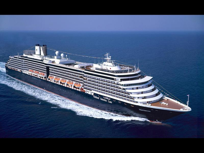 "Holland America Line ""MS Westerdam"" cruise ship, photo on black"