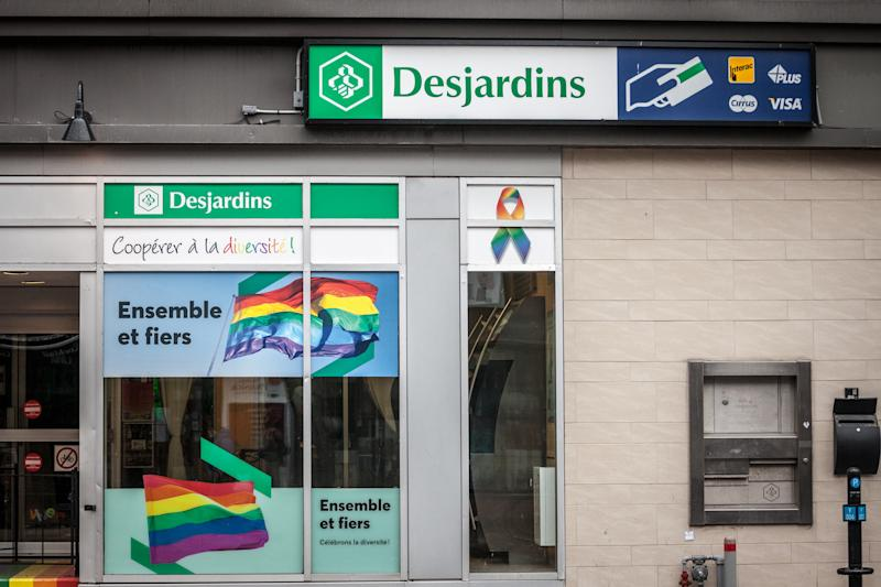 Picture of a sign with the logo of Desjardins on their branch for the Gay disctrict of Le Village Montreal, Quebec, Canada. The Desjardins Group (or Mouvement des caisses Desjardins) is the largest federation of credit unions in North America, and is counted among the World's Strongest Banks