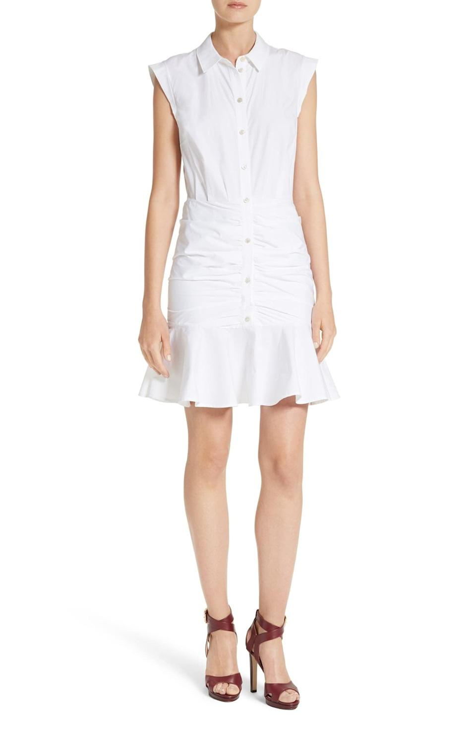<p>This <span>Veronica Beard Bell Ruched Shirtdress</span> ($450) is a fashion girl's take on a shirtdress, and we're in love.</p>