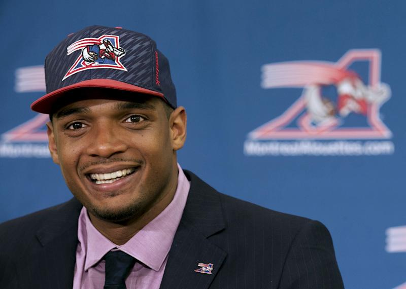 File photo of newly signed defensive end Sam as he is introduced to the media by the Montreal Alouettes CFL football team in Montreal